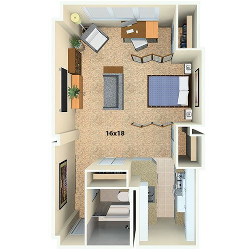 Flamingo South Beach Studio Drexel B Floor Plan