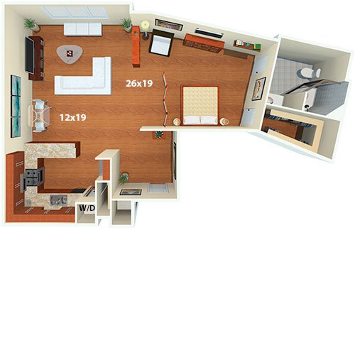 Flamingo South Beach Studio Euclid B Floor Plan